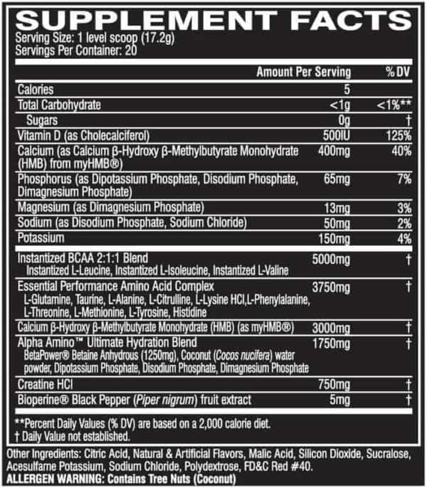 Alpha Amino Ultimate Watermelon Lime 20serv Facts 1 | Supplement Store BodyTech