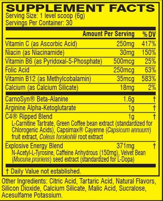 C4 Ripped facts 1 | Supplement Store BodyTech